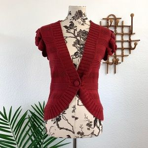 Anthropologie Tabitha Maroon Cardigan Sweater